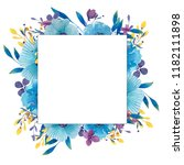 watercolor frame with flowers ... | Shutterstock . vector #1182111898