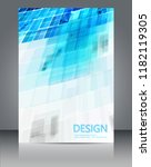 blue geometric shapes and white ... | Shutterstock .eps vector #1182119305