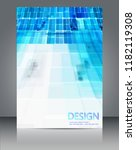 blue geometric shapes and white ... | Shutterstock .eps vector #1182119308