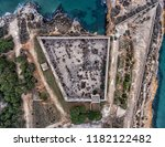 top view of the stone walls of... | Shutterstock . vector #1182122482