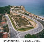 aerial view of the stone walls...   Shutterstock . vector #1182122488