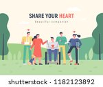a humane and heartwarming... | Shutterstock .eps vector #1182123892