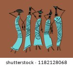 african women with jugs  ornate ... | Shutterstock .eps vector #1182128068