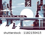 futuristic fantastic train of... | Shutterstock .eps vector #1182150415