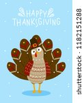 thanksgiving greeting card with ... | Shutterstock .eps vector #1182151288