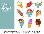 ice cream scoops in wafer cones ... | Shutterstock .eps vector #1182161785