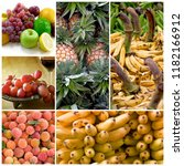 healthy fresh colorful fruits... | Shutterstock . vector #1182166912
