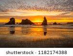 Sunset at Bandon Beach in Oregon-USA - stock photo