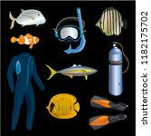 realistic snorkeling and scuba... | Shutterstock .eps vector #1182175702