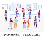 art gallery with visitors... | Shutterstock .eps vector #1182176368