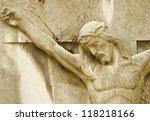 Jesus Christ statue in a cemetery - stock photo