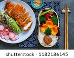 japanese style  lunch with ... | Shutterstock . vector #1182186145