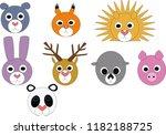 set of animals head | Shutterstock . vector #1182188725