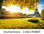 a view of the eiffel tower from ... | Shutterstock . vector #1182190885