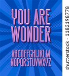 you are wonder  super hero font.... | Shutterstock .eps vector #1182198778