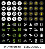 flat icons set of route vector... | Shutterstock .eps vector #1182205072