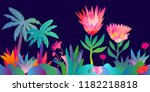 fantasy tropical jungle.... | Shutterstock .eps vector #1182218818