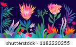 fantasy tropical jungle.... | Shutterstock .eps vector #1182220255