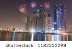 new year fireworks display in... | Shutterstock . vector #1182222298