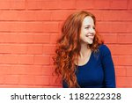 happy woman with red hair... | Shutterstock . vector #1182222328
