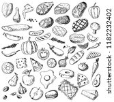 hand drawn set of food.... | Shutterstock .eps vector #1182232402