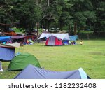 a campground full of different... | Shutterstock . vector #1182232408