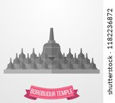 borobudur temple icon on white... | Shutterstock .eps vector #1182236872