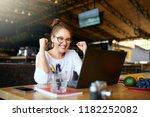 portrait of happy young... | Shutterstock . vector #1182252082