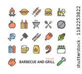 bbq signs color thin line icon... | Shutterstock .eps vector #1182253822
