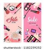 cosmetics set  hand drawn style ... | Shutterstock .eps vector #1182259252