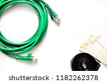 blue and green lan cable with... | Shutterstock . vector #1182262378