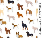 cartoon breed of dogs seamless... | Shutterstock .eps vector #1182273025