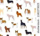 cartoon breed of dogs seamless... | Shutterstock .eps vector #1182273025