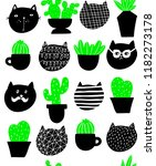 cats and home plants vector... | Shutterstock .eps vector #1182273178