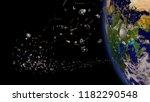 space junk in earth orbit ... | Shutterstock . vector #1182290548