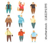 handsome overweight men set ... | Shutterstock .eps vector #1182291595