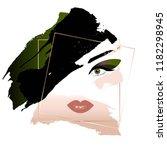 fatal brunette. woman's face... | Shutterstock .eps vector #1182298945