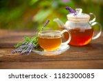 delicious green tea in a... | Shutterstock . vector #1182300085