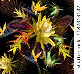 yellow cactus flower  tropical ... | Shutterstock .eps vector #1182313132