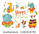 happy birthday card with wild... | Shutterstock .eps vector #1182313735