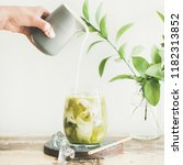 iced matcha latte drink in... | Shutterstock . vector #1182313852