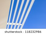 Aluminium louver or sun shade with blue sky background - stock photo