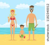 happy family on the beach. mom  ... | Shutterstock .eps vector #1182340012