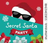 cartoon secret santa christmas... | Shutterstock .eps vector #1182341548