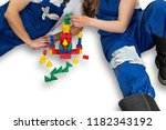 a young couple plans to build a ... | Shutterstock . vector #1182343192