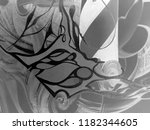 abstract black and white waves  ... | Shutterstock . vector #1182344605