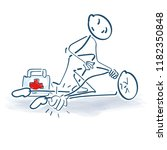 stick figure with injury and... | Shutterstock .eps vector #1182350848