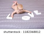 funny little baby wearing a... | Shutterstock . vector #1182368812
