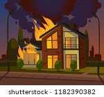 burning house fire. vector... | Shutterstock .eps vector #1182390382