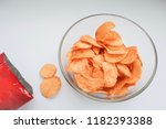 top view of potato chips in a... | Shutterstock . vector #1182393388